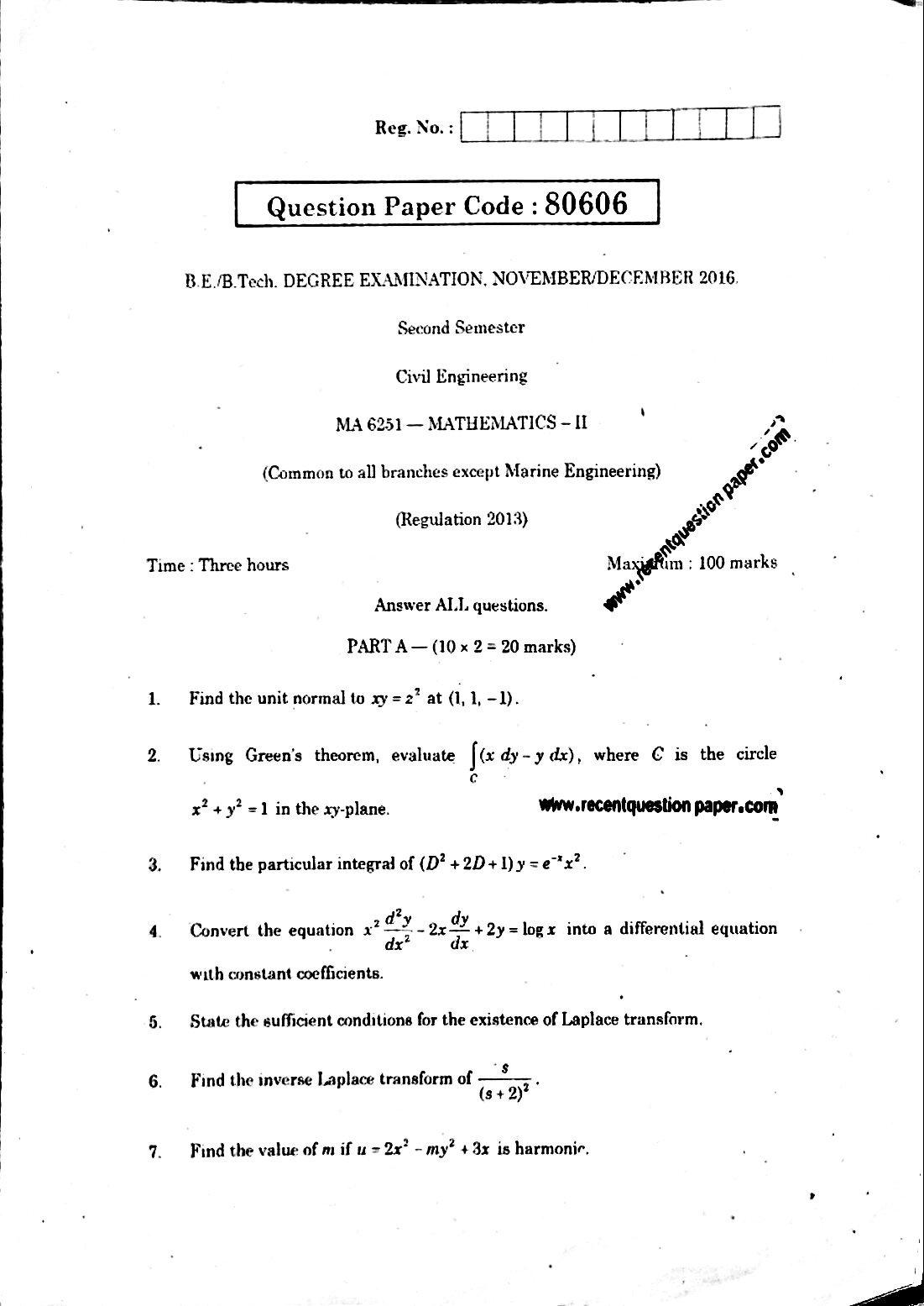 MA6251 Mathematics-II Anna University Question paper Nov/Dec 2016