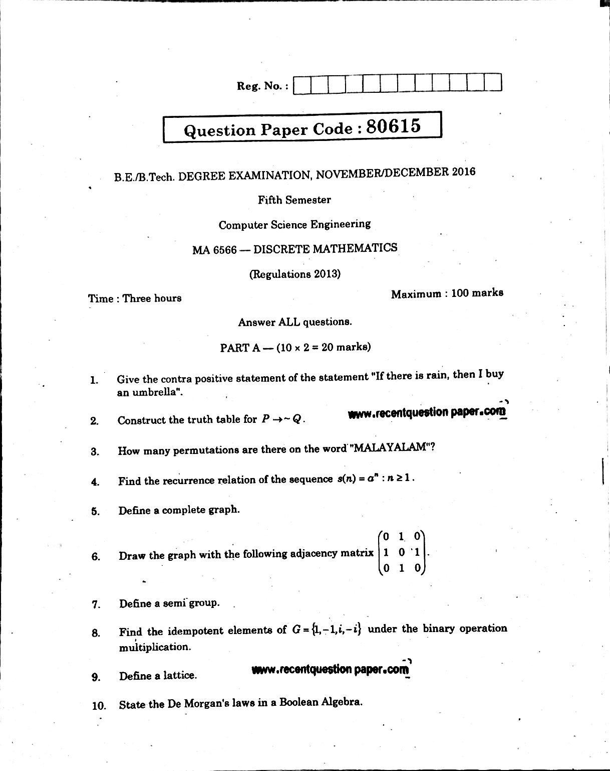 Discrete Mathematics Anna University Question paper Nov/Dec 2016