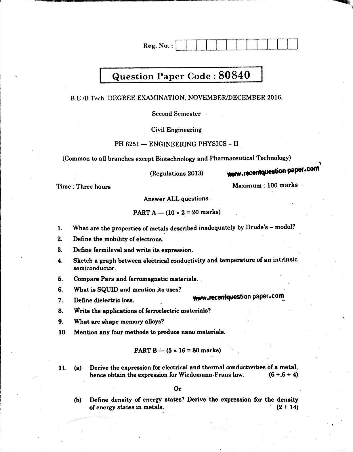 PH6251 Engineering Physics-II Anna University Question paper Nov/Dec 2016