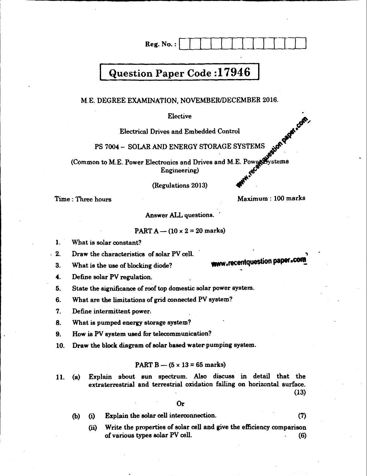 PS7004 Solar And Energy Storage Systems Anna University Question paper Nov/Dec 2016